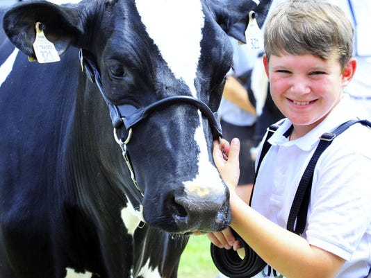 Andrew Trostle compets during the 4-H Roundup at he Franklin County Fair, Tuesday, July 8, 2014.