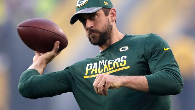Green Bay Packers quarterback Aaron Rodgers (12) throws the ball before their game against the Cleveland Browns.