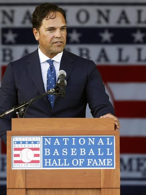 In this July 24, 2016, file photo, National Baseball Hall of Fame inductee Mike Piazza speaks during the induction ceremony at the Clark Sports Center in Cooperstown. Only seven teams were still making selections by the 62nd round of the 1988 draft, when the Dodgers took Piazza. Piazza went on to become one of the game's top hitters, and he is the lowest-drafted player elected to the Hall of Fame.