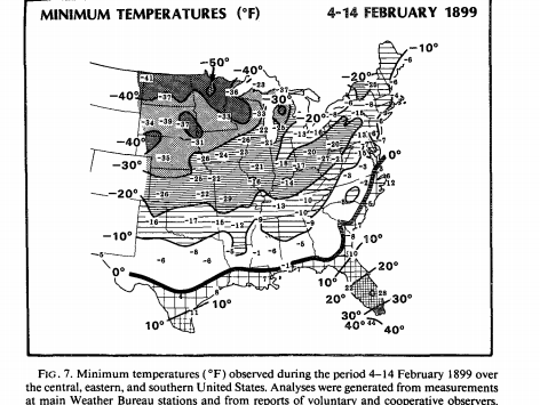 Chart shows how intense the cold was during the February 1899 arctic blizzard.