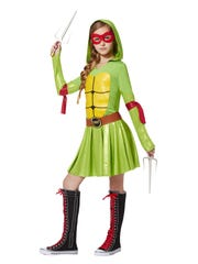 """This hooded """"Teenage Mutant Ninja Turtles"""" dress costume comes with eye masks and elbow sashes in all four colors, so girls can switch identities. $44.99 at Spirit Halloween."""