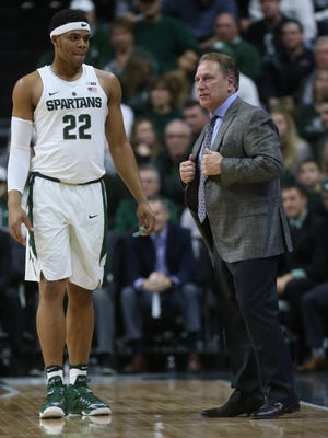 """""""Going to the Palestra was a big deal,"""" says MSU coach Tom Izzo, whose team will play Penn State at the vaunted Philadelphia arena on Saturday. Michigan State Spartans head coach Tom Izzo talks to Miles Bridges against Rutgers in the first half Wednesday, Jan. 4, 2017 at Breslin Center in East Lansing."""