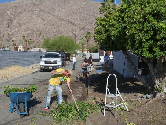 Bryan Johnson helps cleanup the Well in the Desert's