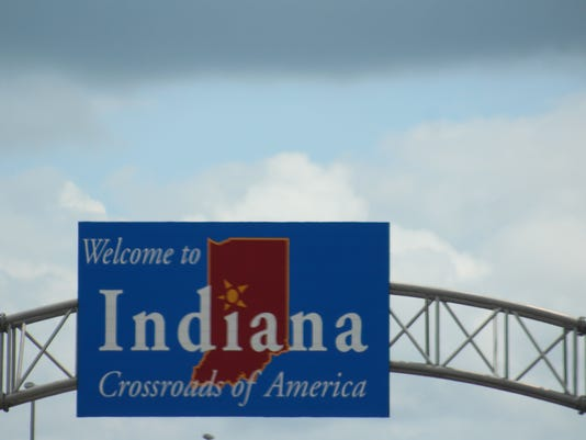 """""""Welcome to Indiana"""" sign Facing Interstate 65 South"""