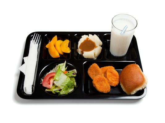 Black school lunch tray on a white background