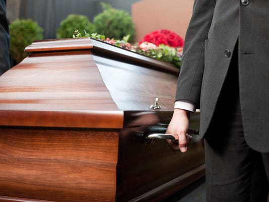 Funeral with casket