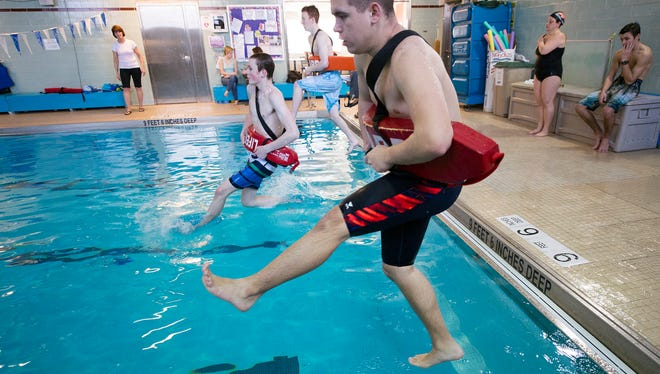 Noah Schaefer, age 15, a Central York student during YWCA lifeguard training Sunday February 14, 2016 in York.