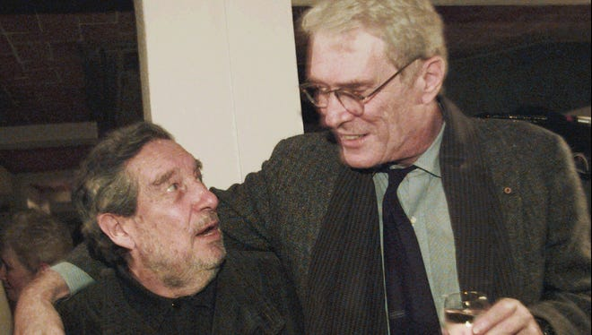 Former U.S. Poet Laureate Mark Strand, right, meets with Ocatavio Paz, Mexican author and Nobel Prize winner for literature, on Nov. 18, 1995, in Mexico City. The Pulitzer Prize winner died on Saturday, according to his daughter. He was 80.