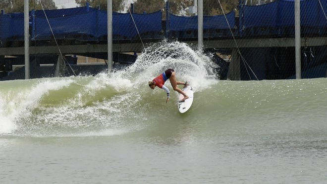 Professional surfer Lakey Peterson competes at World Surf League Founder's Cup at  WSL and Kelly Slater's Surf Ranch in Lemoore.