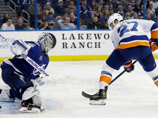 New York Islanders left wing Anders Lee (27) slips the puck past Tampa Bay Lightning goalie Andrei Vasilevskiy (88) for a goal during the third period of an NHL hockey game Saturday, Nov. 18, 2017, in Tampa, Fla. The Islanders won the game 5-3. (AP Photo/Chris O'Meara)