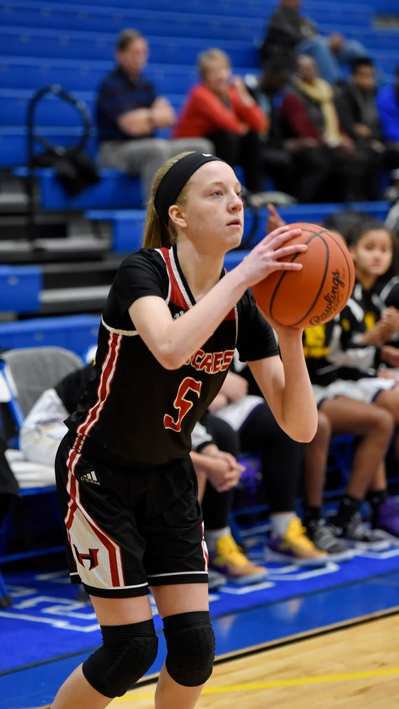 Hillcrest sophomore Katie Pettinato (5) scored 15 points in the Rams' 64-53 win over Northwestern in the Lady Sandlapper semifinals Friday night at Eastside.