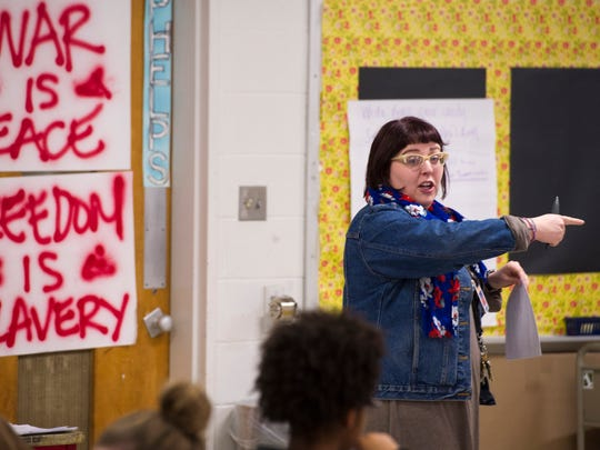 Central High School teacher Shelby Phelps never stops moving while lecturing in her ninth grade honors English class Wednesday morning.