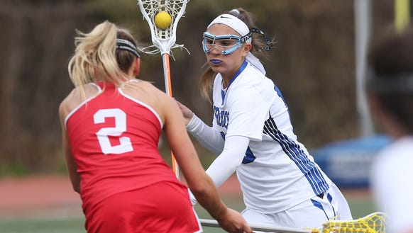 Bronxville's Victoria Ruffo (10) drives to the goal