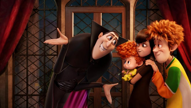 """Dracula, voiced by Adam Sandler, from left, Dennis, voiced by Asher Blinkoff, Mavis, voiced by Selena Gomez, and Jonathan, voiced by Andy Samberg appear in a scene from """"Hotel Transylvania 2."""""""