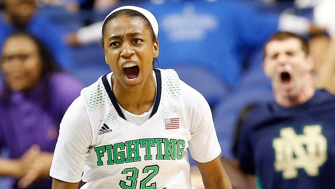 Notre Dame Fighting Irish guard Jewell Loyd reacts during the game against the Duke Blue Devils at Greensboro Coliseum.