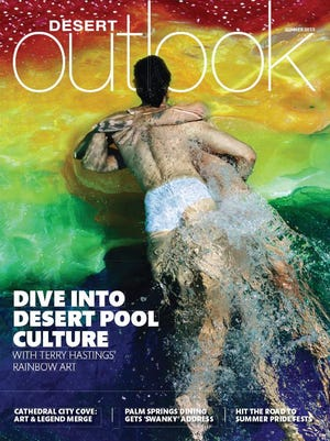 Models Jade Atkins and Adrian Baez get in the swim of Terry Hastings' summer cover shoot for Desert Outlook.
