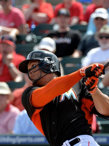 Giancarlo Stanton went 0 for 2 in his first game since