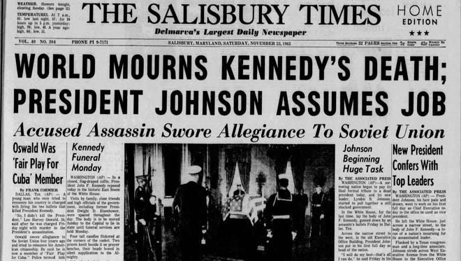 The Salisbury Times front page on Nov. 23, 1963.