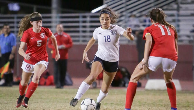 Marcela Gallo of La Quinta scored Monday in the rivalry soccer game against Palm Desert.
