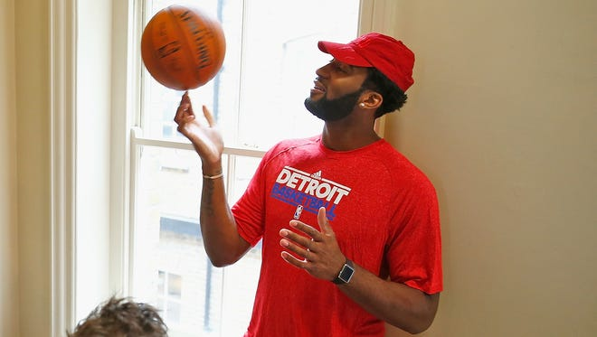Detroit Pistons center Andre Drummond shows off for the Middlesex Cricketers on June 2, 2016, in London.