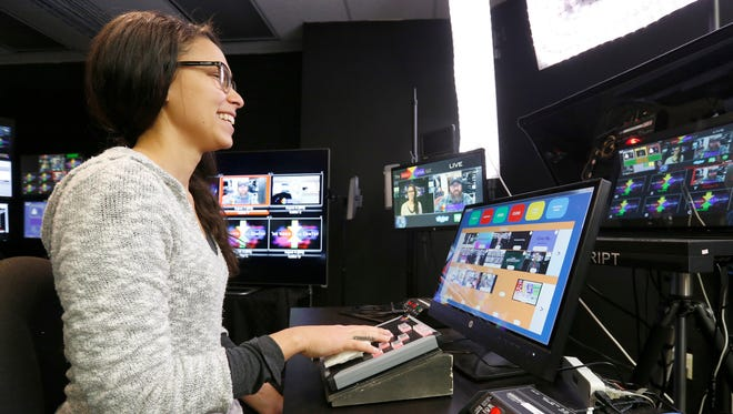 Show producer Jonni-Lynn Gilietti mans the host station at The Video Call Center in Palisades on Tuesday, February 21, 2017.