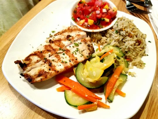 Taste Casual Dining's Grilled Mahi Mahi with mango salsa. The fish was moist and flavorful and was accompanied by beautifully seasoned rice and fresh zucchini, yellow squash and matchstick cut carrots.