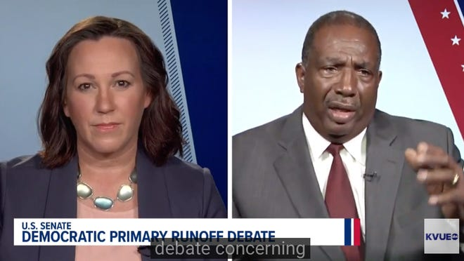 The Texas Democratic runoff between MJ Hegar, left, and state Sen. Royce West for U.S. Senate came to life at a June 29 televised debate on KVUE.