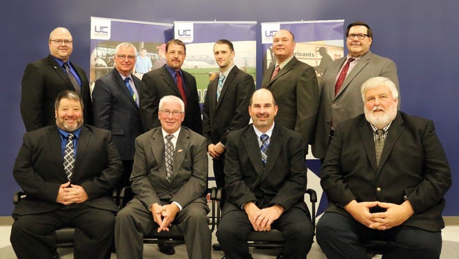 2017 United Cooperative Board of Directors. Pictured (from left, front) are Rod Leiterman, Denmark; Howard Bohl, Beaver Dam, chairman; Gary Nolden, Prairie du Sac, vice chairman; Robin Craker, Reedsburg, secretary; (back) Greg Tauchen, Bonduel; Anthony Schadt, Watertown; Brad Krueger, Shawano; Peter Mlsna, Hillsboro; Duane Hinchley, Cambridge; and David Cramer, Beaver Dam; treasurer. Not pictured, Larry Plamann, Greenville.