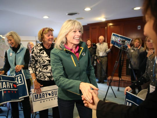 Mary Burke greets supporters at a campaign stop at