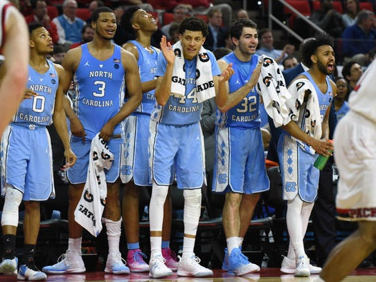 North Carolina players react during the second half