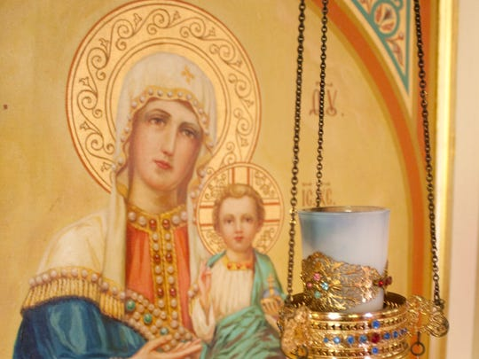 This mural, painted by artist Nicholas Bervinchak, decorated the walls of St. George Orthodox Church in Minersville, Pennsylvania, until the church;s demolition earlier this year. The church art of Bervinchak, as well as his social realist paintings and etchings, will be the subject of a retrospect running from Oct. 15 to Nov. 11 in the Somerset section of Franklin.