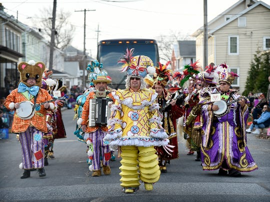 The Myerstown Holiday Parade stepped off onto Carpenter Avenue Saturday afternoon, Nov. 25. This years' parade featured a number of bands, highlighted by two of the top string bands from last year's Mummers parade in Philadelphia. The Polish American Swing Band marches in the annual parade.