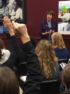 Superintendent Mary Ronan takes questions about Cincinnati Public Schools' expansion plans.