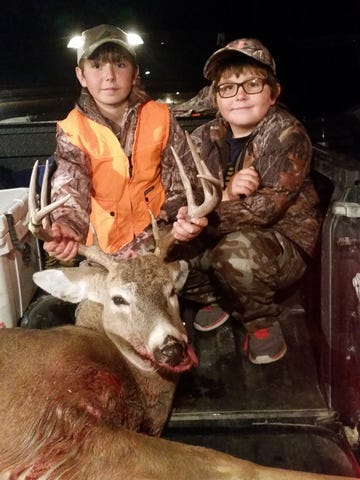 Kellen Meyer, 11, got this five-point buck in October