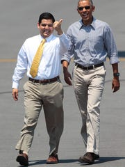 Congressman Raul Ruiz and President Barak Obama walk