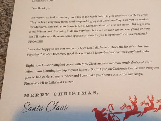 Santa's response letter to a child.