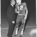 High school football coach Lee Hedges and Terry Bradshaw.
