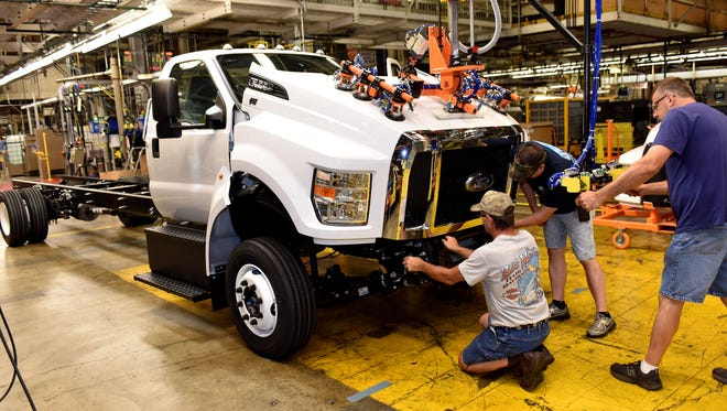 The Ford F-650/F-750 medium-duty trucks roll off the line today for the first time in the United States on August 12, 2015. Production of the trucks at Ohio Assembly Plant, previously built in Mexico, helps secure more than 1,000 hourly UAW jobs and a $168 million plant investment in the United States.