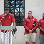 Alabama quarterback Jake Coker was named one of four permanent team captains for 2015 and was honored during Saturday's A-Day festivities.