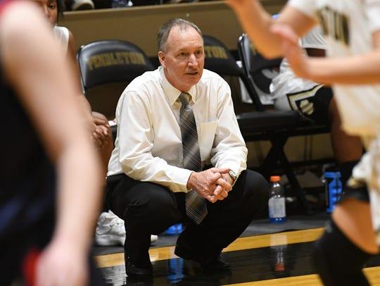 Pendleton High School head coach Tim Wood during the