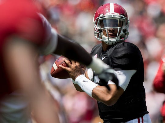 Alabama quarterback Jalen Hurts (2) throws during the