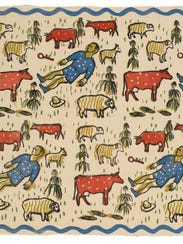This color wood block on cotton (circa 1940) from the