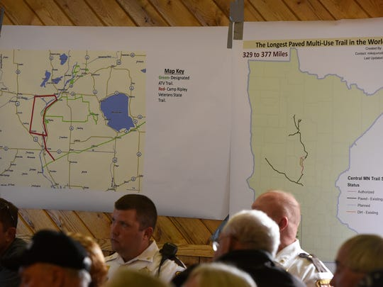 Maps show plans for extended ATV trails during a meeting Friday, Oct. 7, on an ATV in Randall.