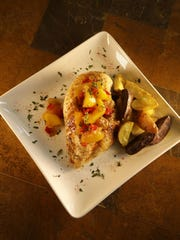 Roasted Chicken with Peach Chutney and Colored Potatoes prepared by Robin Miller.