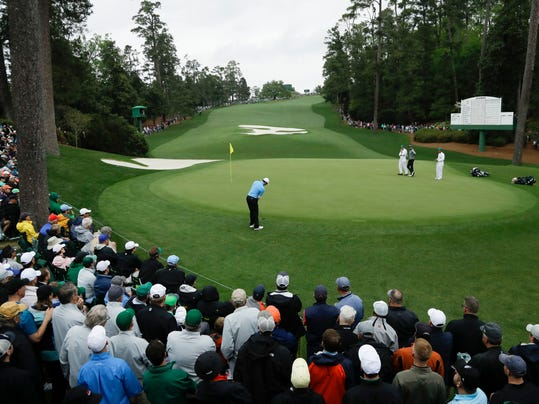 Rory McIlroy, of Northern Ireland, plays the 10th hole during the third round at the Masters golf tournament Saturday, April 7, 2018, in Augusta, Ga. (AP Photo/Matt Slocum)