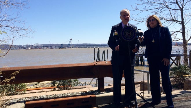 Sen. Charles Schumer, left, and South Nyack Mayor Bonnie Christian at a press conference in South Nyack on March 29, 2016, asking the federal government to move quickly on the new bridge's shared use path.