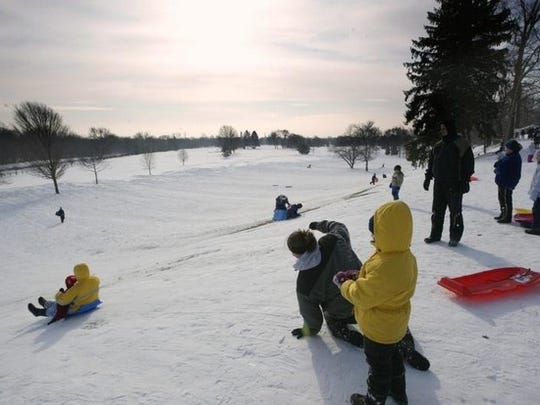 The sledding hill. The best sledding hill in Noblesville is at Forest Park. Sometimes, it's difficult to find a place to sled because so many people have the same idea.