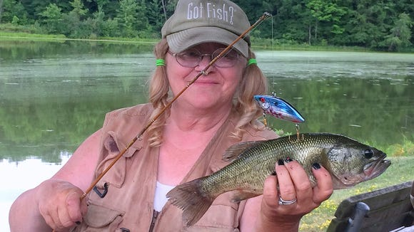 Carol got in on the bass action Sunday with this largemouth