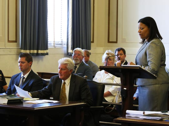 Assistant Prosecutor Stacey DeGraffenreid examines a witness during the third day of testimony in the retrial of Ray Tensing in Hamilton County Common Pleas Judge Leslie Ghiz's courtroom Monday, June 12, 2017.