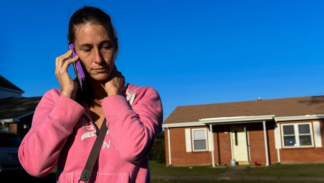 Varina Hinojosa talks with friends Oct. 12, 2017, about her concerns with the upcoming White Lives Matter rally that is scheduled for Oct. 28, 2017, in Shelbyville, Tenn.